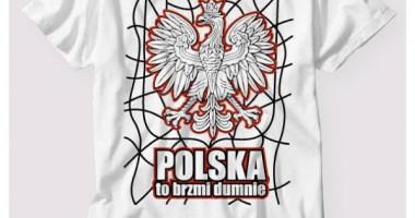 projekt koszulki Polska to brzmi dumnie biała + ciemne motywy