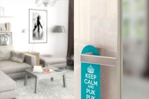 Zawieszka na drzwi z własnym logo grafiką projekt zawieszka na klamkę