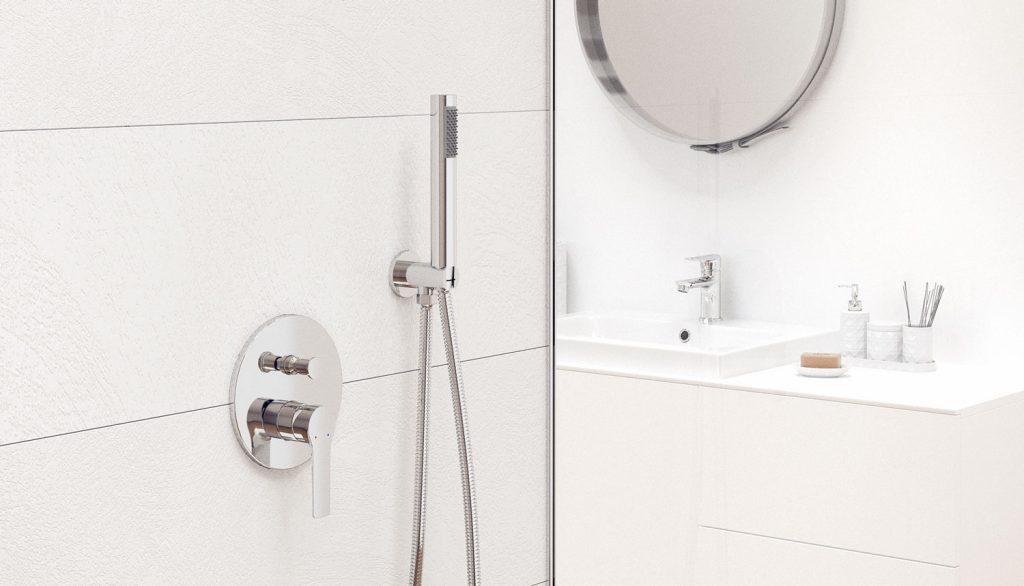 Wizualizacje 3D fotorealistyczne łazienki produktów, wizki, aranż Laveo, Kuchinox