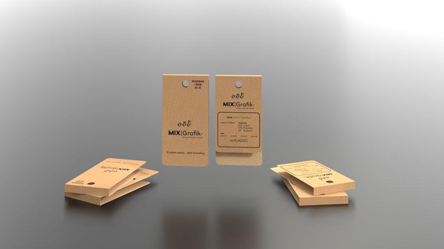 Etykiety do skarpetek z otworkiem na hak na zamówienie drukarnia papier eko kraft