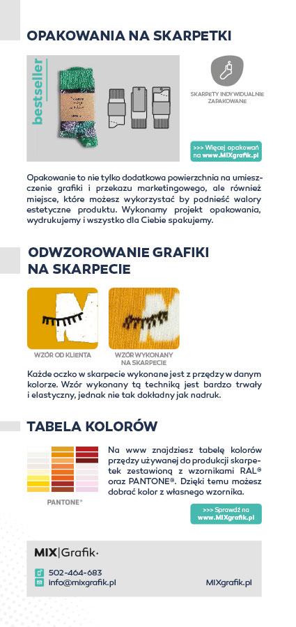 Ulotka informacyjna - Skarpetki na zamówienie z logo