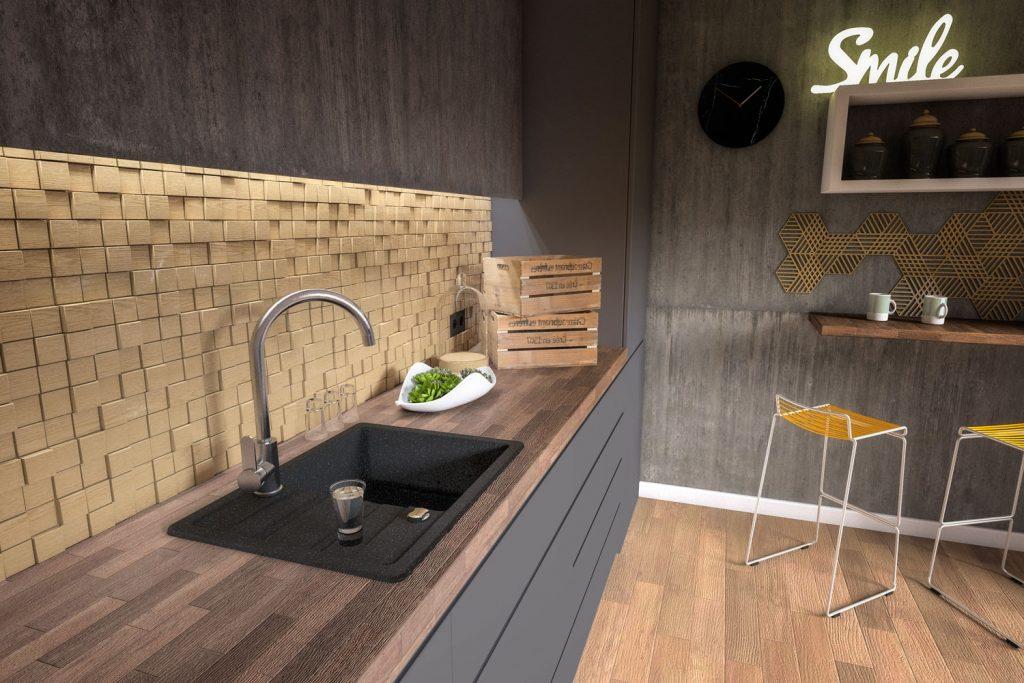 Wizualizacje 3D fotorealistyczne kuchni produktów, wizki, aranż Laveo, Kuchinox