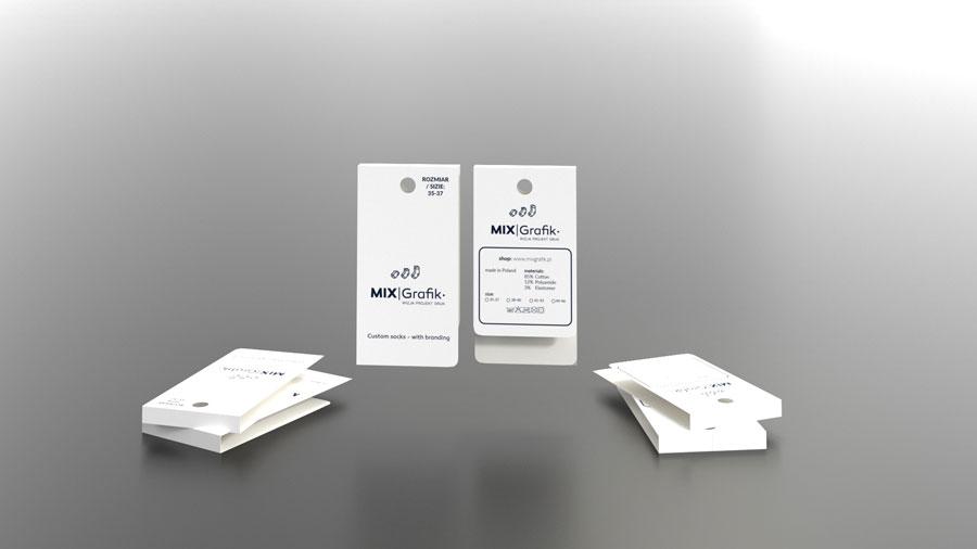 Etiketten für Socken mit Hakenloch für eine maßgeschneiderte weiße Druckerei