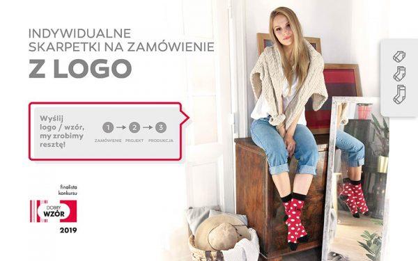 Indywidualne skarpetki z logo finalista konkursu Dobry Wzór 2019 kategorii usługa produkcja skarpetek na zamówienie