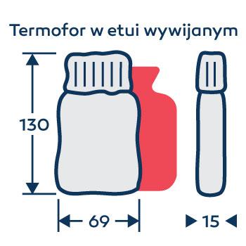 Wymiary termofor - ogrzewacz do rąk - na zamówienie - z logo - w etui wywijanym