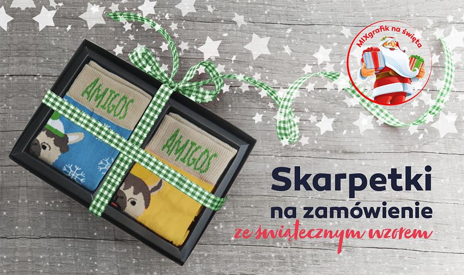Skarpetki na zamówienie świąteczny wzór logo