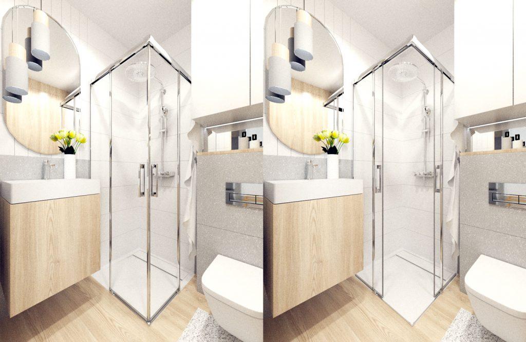 Wizualizacja mała łazienka produkty brodzik Radway Teos C kabina Radaway Idea Rocka GAP geberit deszczownia Grohe